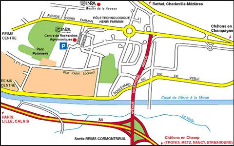 Plan d'accès aux sites Inra de Reims